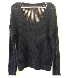 Express cable knit sweater sz m black
